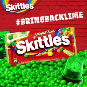 Long Lost Lime Skittles are available once again! It's been four long years since Skittles decided to replace the Lime flavour with Green Apple.